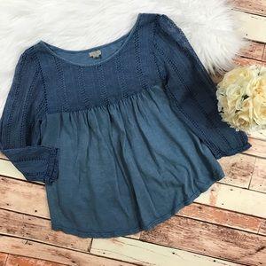 UO ecote blue crotchet blouse